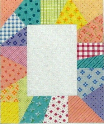 Picture Frame,  Patchwork Soft Pastels (Handpainted by Kate Dickerson Needlepoint Collection)