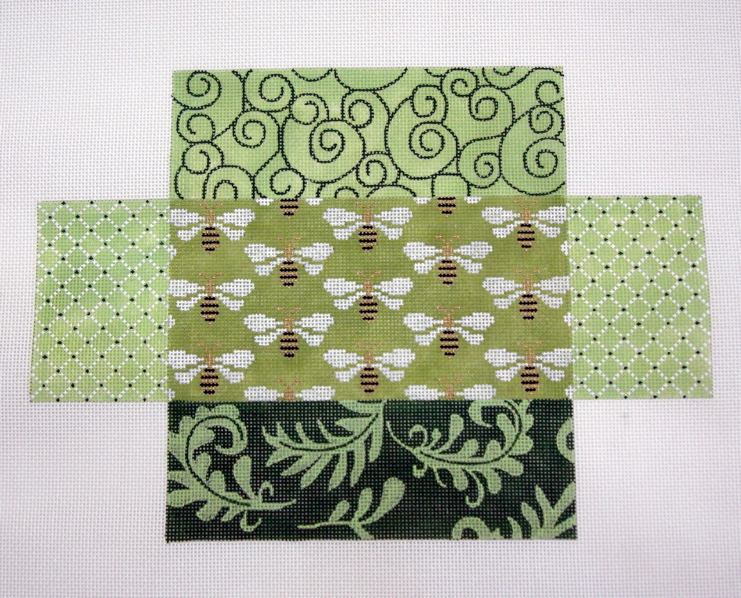 Green Patchwork Bees Brick Cover       (JP Designs)