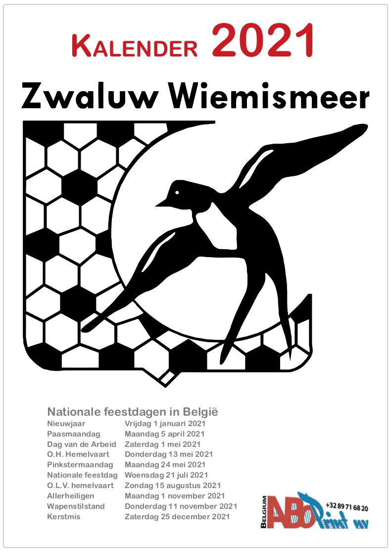 KFC Zwaluw Wiemismeer Kalender 2021