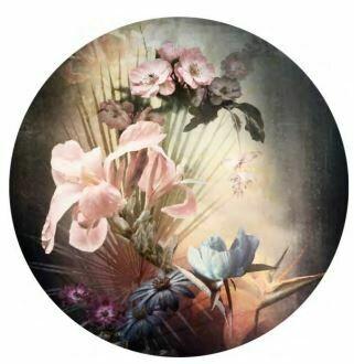 Kulatá samolepící fototapeta KOMAR DOTs D1-036 Flemish Flowers