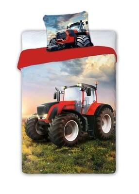 Dětské bavlněné povlečení Traktor červený