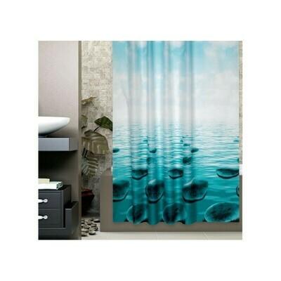 Koupelnový závěs 180x200cm - Modré kameny pod hladinou 5075