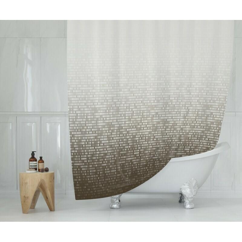 Koupelnový závěs 180x200cm - Modern hnědá 3636