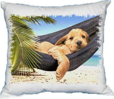 Polštářek Pes na pláži
