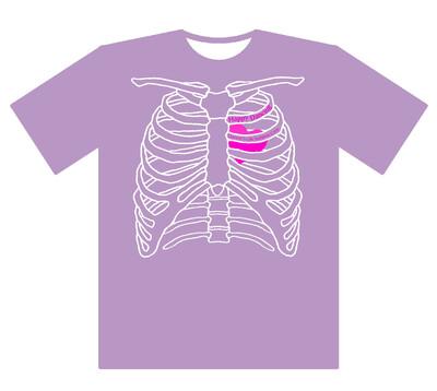 肋骨Tシャツ ラベンダー Sサイズ