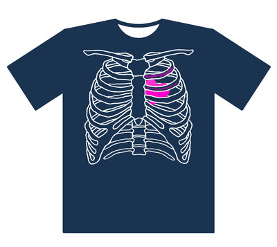 肋骨Tシャツ インディゴ Sサイズ