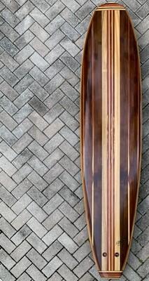 "Surfboard, Mini ""Mal"", 7'8"" x 22"" single fin hollow wood surfboard, double concave bottom"