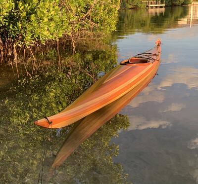 Kayak, strip-built, Guilemot S, 16.5 ft. Spanish Cedar and Paulownia