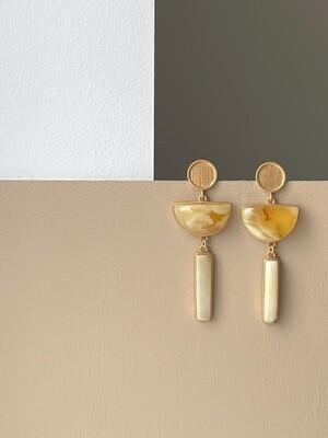 Позолоченные серьги с янтарем
