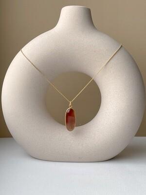 Позолоченная подвеска с янтарем. (40 см, 5.31 гр)