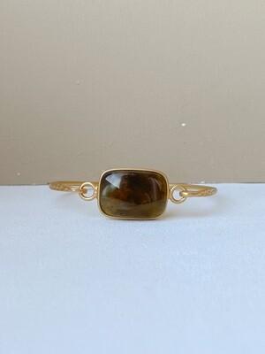 Позолоченный браслет с янтарем, размер 15