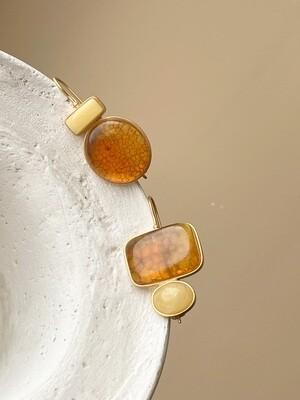 Асимметричные серьги с янтарем Вес 8,09 гр.