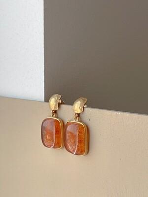 Позолоченные серьги пусеты с янтарем. 8,23гр.