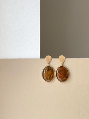 Позолоченные серьги пусеты с янтарем. 12.58гр.