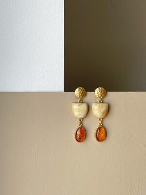 Позолоченные серьги пусеты с янтарем. 8,87 гр