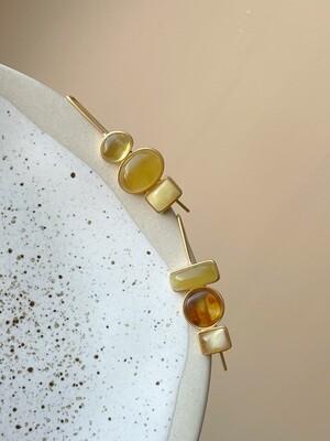 Асимметричные серьги с янтарем Вес 6,15 гр.