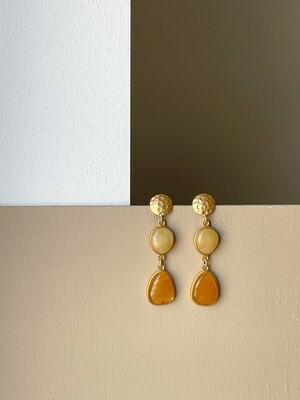 Позолоченные серьги пусеты с янтарем. 8,04 гр