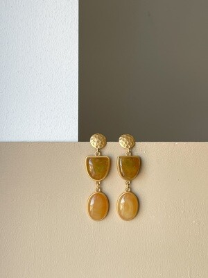 Позолоченные серьги пусеты с янтарем. 10 гр