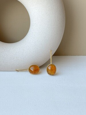 Позолоченные серьги с янтарем Вес 5,95 гр.