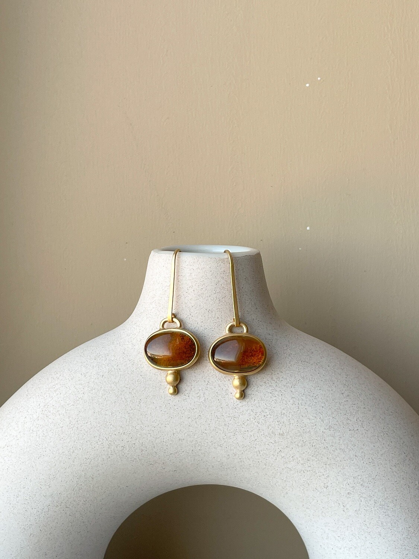 Позолоченные серьги с янтарем. 6,72гр.