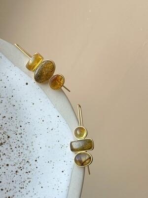 Асимметричные серьги с янтарем Вес 6,66гр.