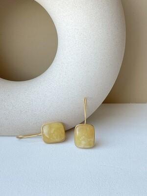 Позолоченные серьги с янтарем Вес 6,54 гр.