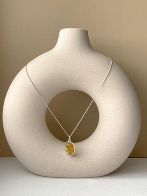 Серебряная подвеска с янтарем (41 см 4,85гр)