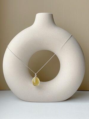 Серебряная подвеска с янтарем (41 см 5,86 гр)