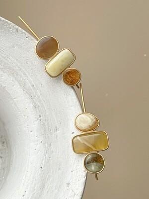 Асимметричные серьги с янтарем Вес 6,22 гр.