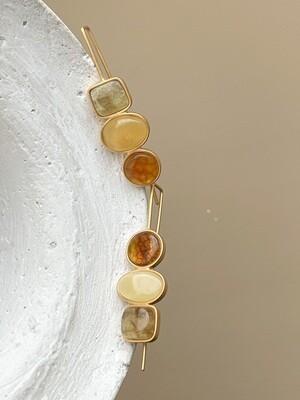 Асимметричные серьги с янтарем Вес 7,16 гр.