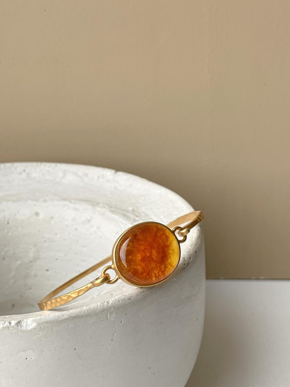 Позолоченный браслет с янтарем, размер 16
