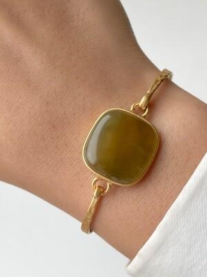 Позолоченный браслет с янтарем, размер 15,5