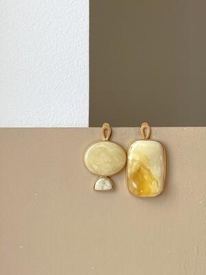 Позолоченные асимметричные серьги с янтарем 16,07 гр