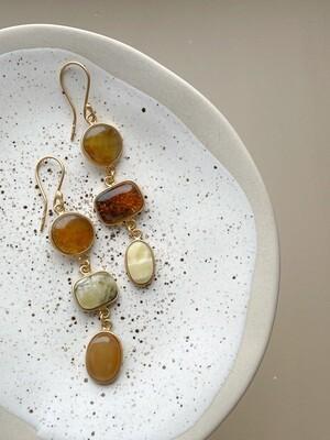 Позолоченные асимметричные серьги с янтарем 10,86 гр.