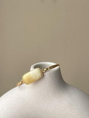 Позолоченный браслет с янтарем, размер 18
