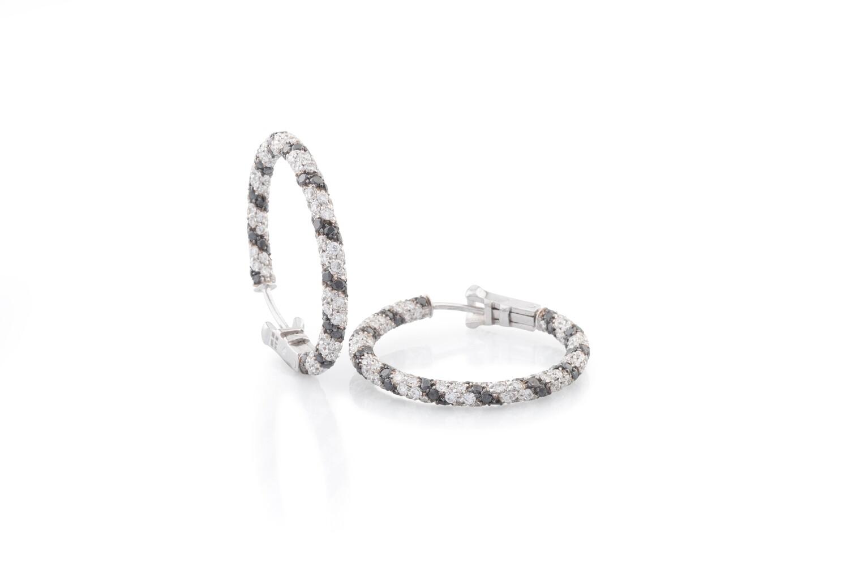 Small Black & White Circle Earrings