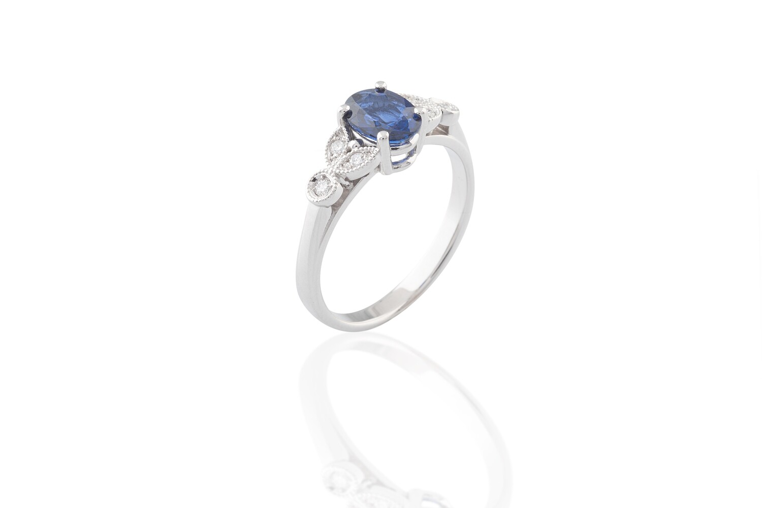 Sapphire and Diamonds Leaves Ring