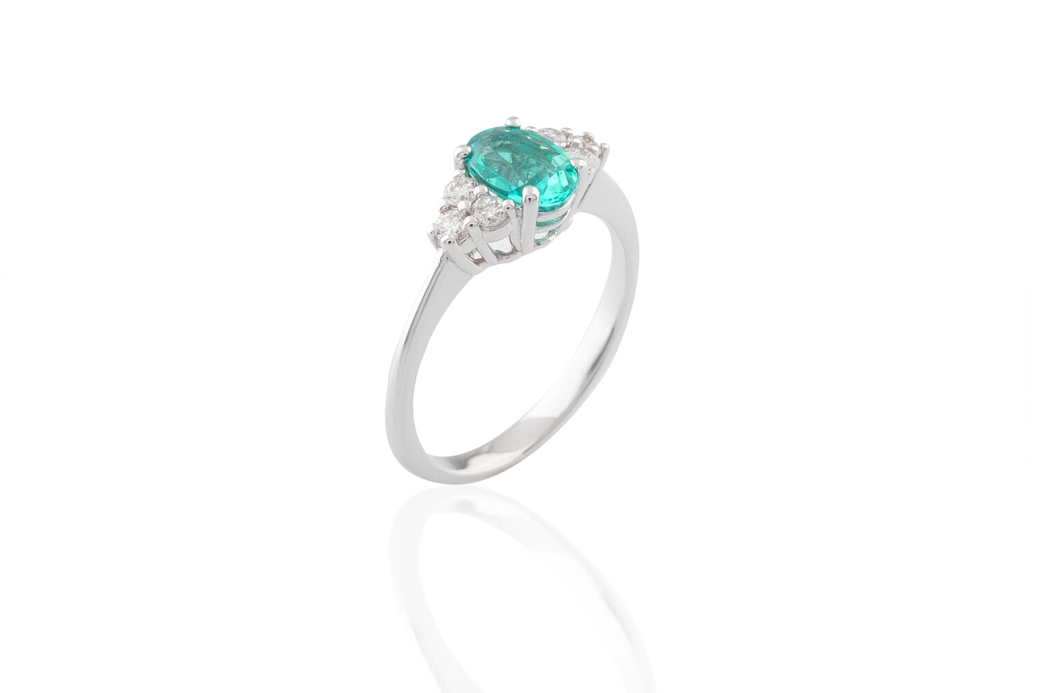 Synthetic Emerald and Diamonds Ring