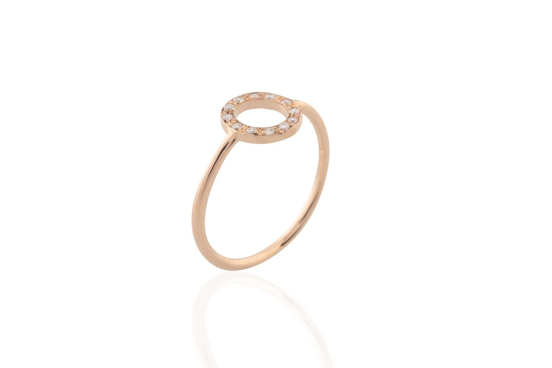 Circle Rose Gold and Diamonds Ring