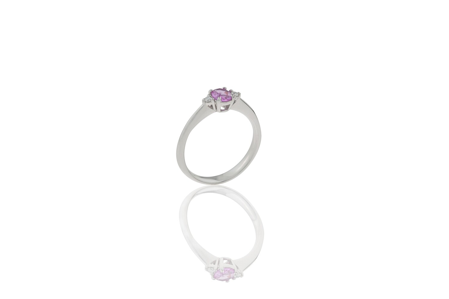 Pink Sapphire and Diamonds Ring
