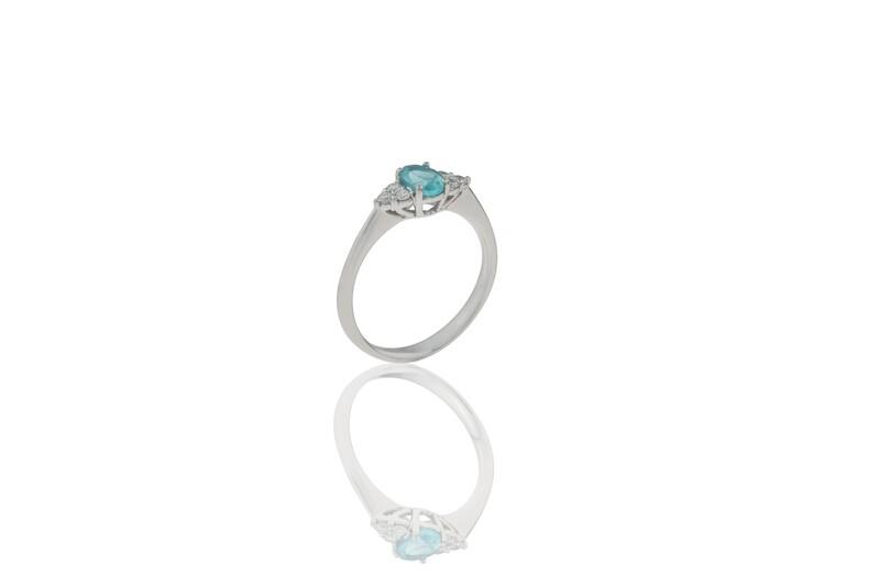 Apatite and Diamonds Ring