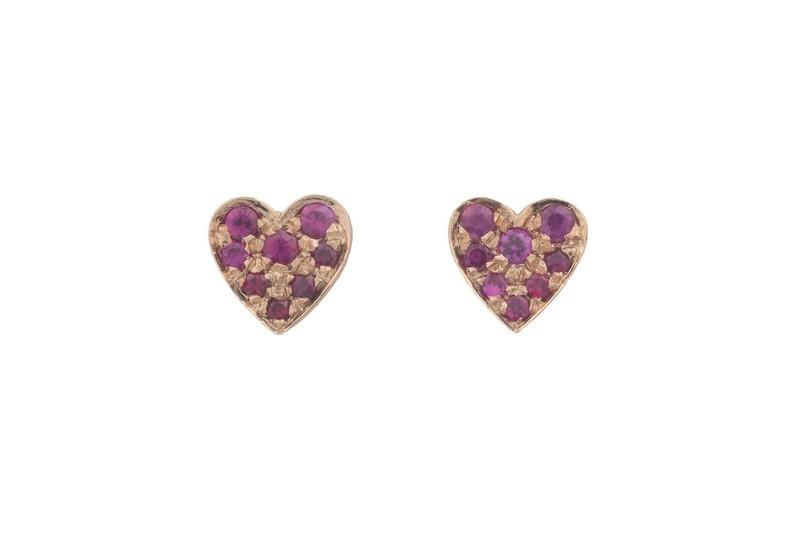 Heart Rubies Earrings