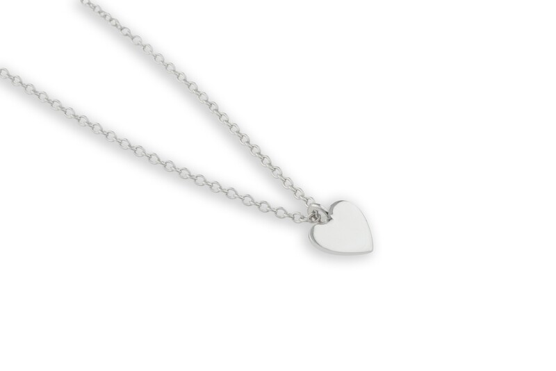 Flat White Gold Heart Necklace