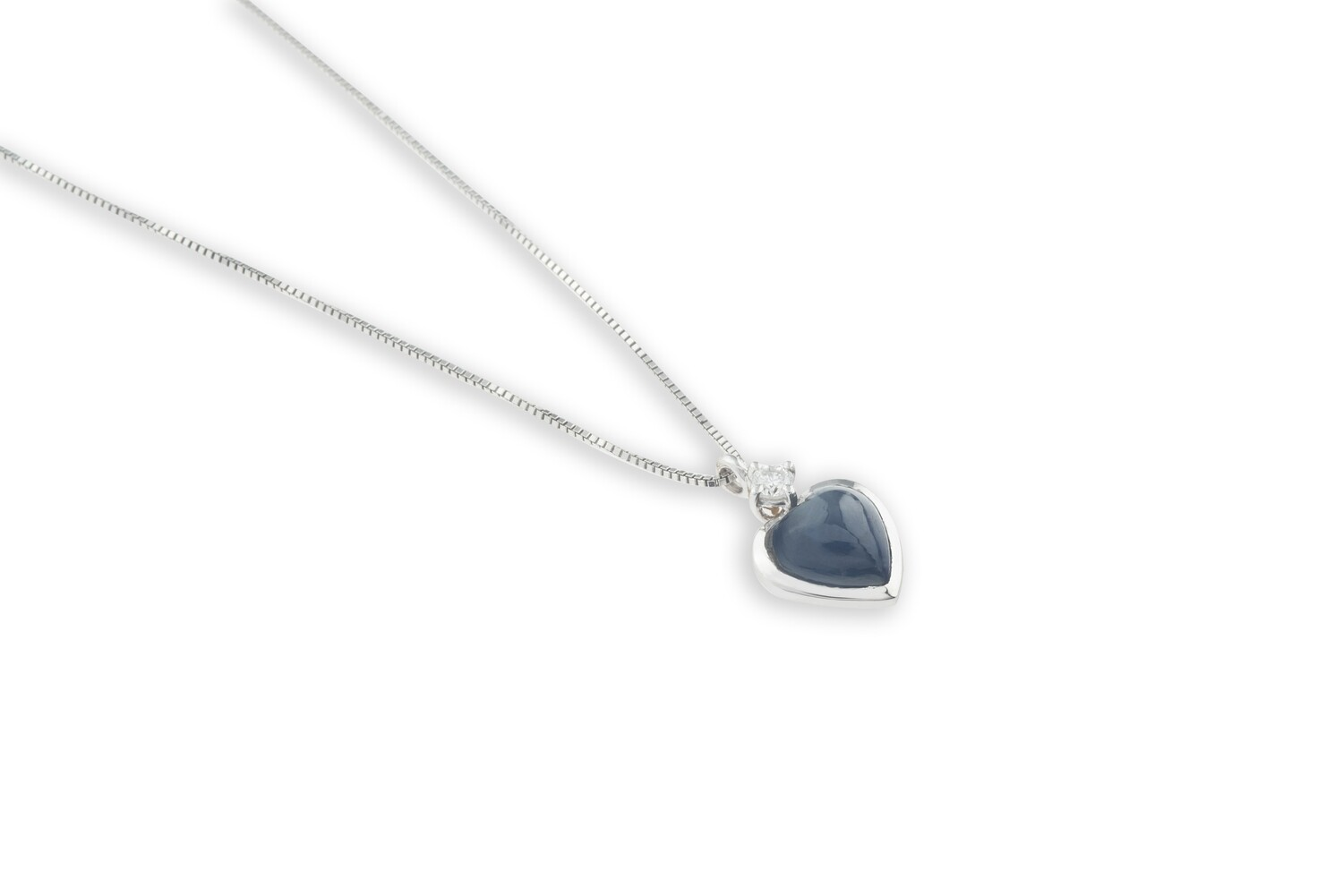 Heart Sapphire and Diamond Necklace
