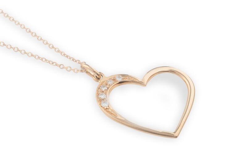 Heart Silhouette Rose Gold and Diamonds Necklace