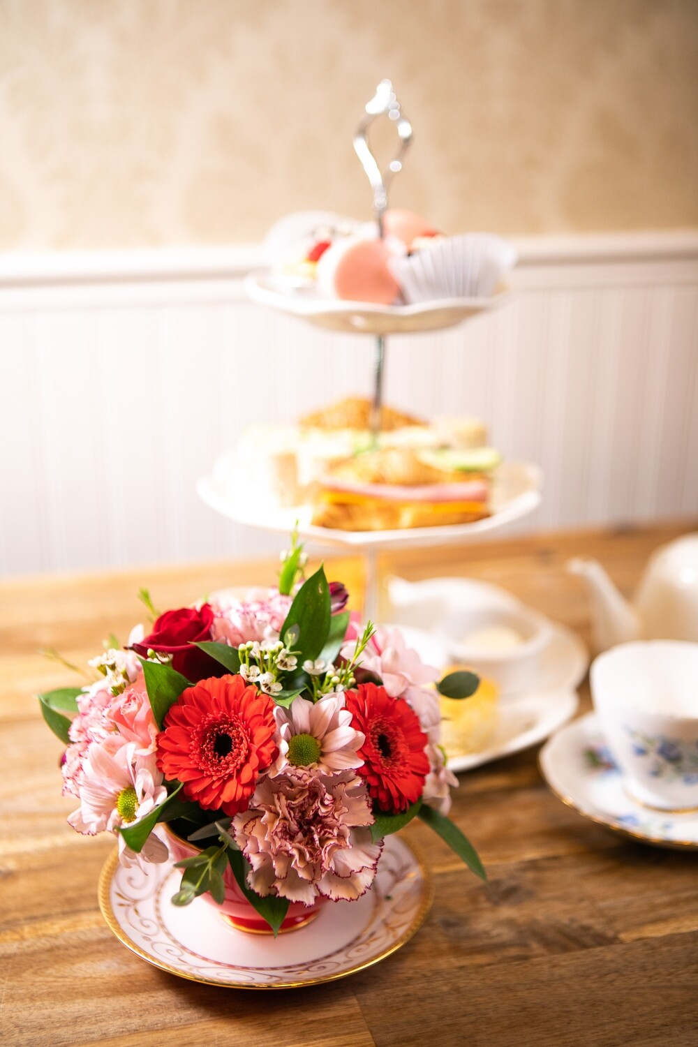 TEA CUP ARRANGEMENT OF FLOWERS & HIGH TEA FOR TWO