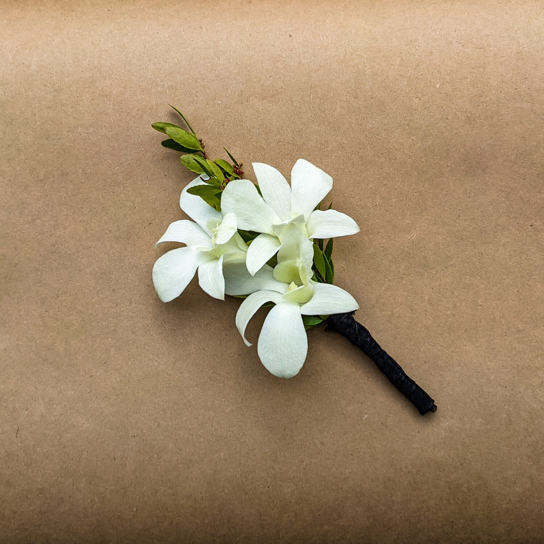 White Dendrobium Boutonniere