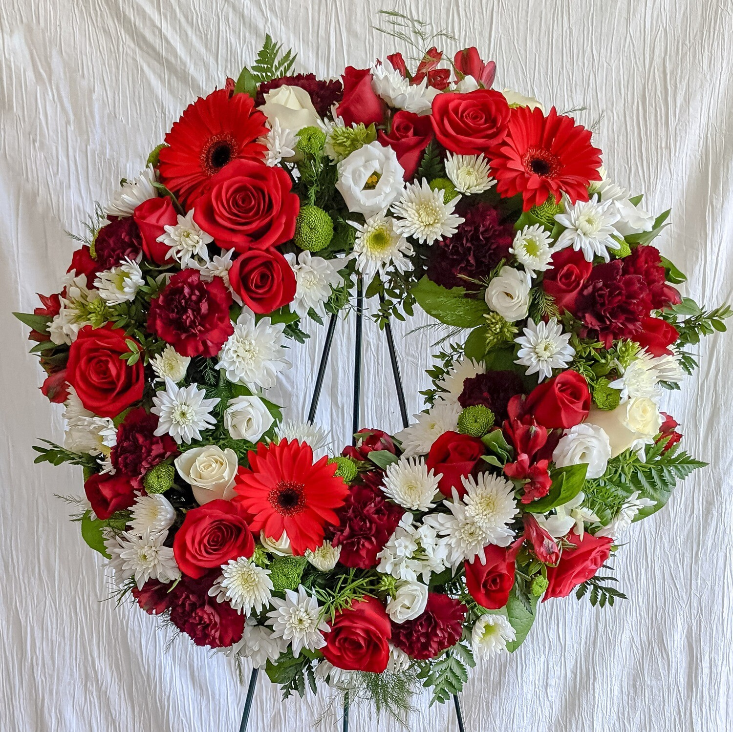 Red + White Funeral Wreath