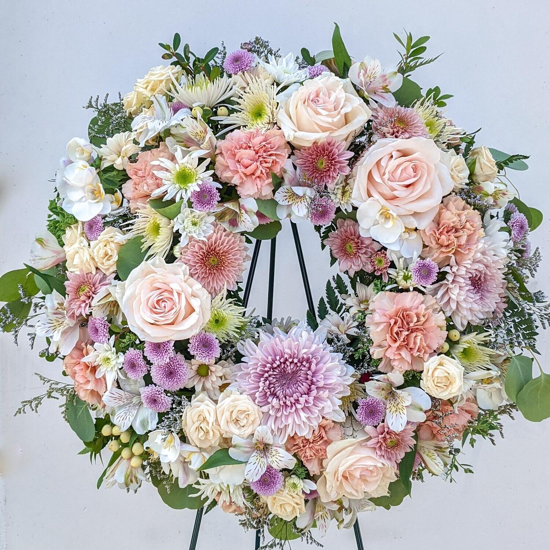 Pastel Funeral Wreath