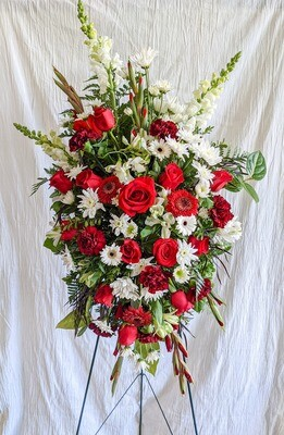 Red + White Funeral Spray